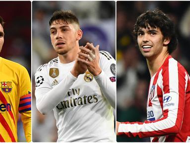 Performa apik Joao Felix bersama Atletico Madrid di beberapa laganya membuat nilai pasar pemain asal Portugal ini menyamai harga pasar Lionel Messi pada musim ini. Berikut 6 pemain Liga Spanyol yang memiliki nilai harga pasar tertinggi saat ini. (kolase foto AFP)