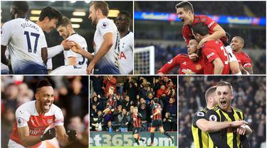 Berikut ini ragam selebrasi terbaik di Premier League pekan ke-18. Diantaranya selebrasi Jesse Lingard Pierre-Emerick Aubameyang hingga Michael Obafemi. (Foto Kolase AP dan AFP)
