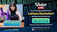Main Bareng Larissa Rochefort, Minggu (1/10/2020) pukul 19.00 WIB dapat disaksikan di platform streaming Vidio dan laman Bola.com.