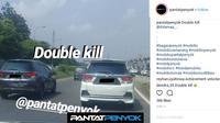 Penampakan Honda Mobilio dengan kondisi bokong penyok. (IG @pantatpenyok)