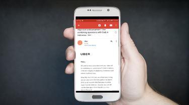 Tangkapan layar pemberitahuan Uber kepada penggunanya