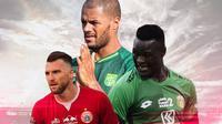 Liga 1 - Marko Simic, David da Silva, Ezechiel N'Douassel (Bola.com/Adreanus Titus)
