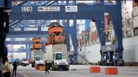 Aktivitas truk petikemas di Terminal Peti Kemas (TPK) Koja, Pelabuhan Tanjung Priok, Jakarta, Selasa (25/10). Throughput Terminal Peti Kemas diprediksi akan mencapai 1 juta TEUs (Twenty Foot Equivalent Unit's) di penghujung 2017. (Liputan6.com/TPK Koja)