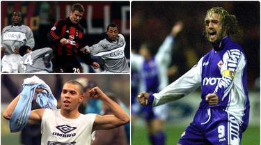 Kompetisi Liga Italia Serie A memiliki segudang striker-striker hebat pada era 1990-an. Berikut striker ikonik yang menghiasi kompetisi sepak bola Italia Serie A pada era 1990-an. (kolase foto AFP)