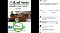 [Cek Fakta] Hoaks Ma'ruf Amin Sebut Jokowi Cucu Sunan Kalijaga