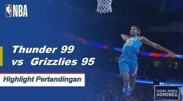 Westbrook skor 22 sebagai Thunder mendapatkan kemenangan atas Grizzlies 99-95