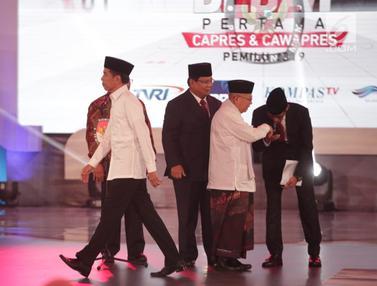 Debat Perdana Capres 2019, Sandiaga Uno Cium Tangan Ma'ruf Amin
