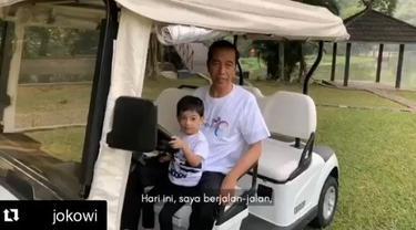 Presiden Jokowi jalan pagi bareng Jan Ethes di istana Bogor