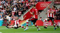 Winger Manchester United (MU), Daniel James ketika menjebol gawang Southampton dalam pertandingan kompetisi Liga Inggris di St. Mary, Sabtu (31/8/2019). (Foto: Premier League)