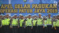 Sejumlah polisi lalu lintas mengikuti apel Operasi Patuh Jaya 2019 di Lapangan Promoter Polda Metro Jaya, Jakarta, Kamis (29/8/2019). Polda Metro Jaya menggelar operasi lalu lintas bersandi Operasi Patuh Jaya 2019 selama 14 hari dari 29 Agustus hingga 11 September 2019. (merdeka.com/Imam Buhori)