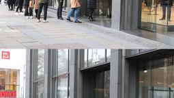Foto kombinasi yang diabadikan pada 27 November 2020 (atas) dan 16 Desember 2020 (bawah) ini menunjukkan pemandangan berbeda di luar sebuah toko di Berlin, Jerman. Jerman menerapkan karantina wilayah (lockdown) yang lebih ketat mulai 16 Desember 2020. (Xinhua/ShanYuqi)