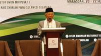 Cawapres nomor urut 01, Ma'ruf Amin saat  menghadiri acara dialog nasional keagamaan dan kebangsaan, di Makassar, Sulawesi Selatan. (Liputan6.com/Putu Merta Surya Putra)
