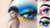 Emily Oliver berhasil menggabungkan seni lukis dengan teknik makeup terbaiknya untuk riasan mata. (Foto: Twitter/@emilyslooks)