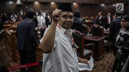 Sekretaris Jenderal PBB Afriansyah Ferry Noer mengikuti sidang putusan sengketa hasil Pilpres 2019 di Gedung Mahkamah Konstitusi, Jakarta, Kamis (27/6/2019). Sidang yang dimohonkan Prabowo Subianto-Sandiaga Uno itu beragendakan pembacaan putusan oleh majelis hakim MK. (Liputan6.com/Faizal Fanani)