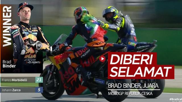 Berita video momen pembalap rookie, Brad Binder, menjadi juara di MotoGP Republik Ceska, lalu diberi selamat oleh Valentino Rossi, Minggu (9/8/2020).