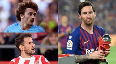 Lionel Messi semakin memperkokoh posisinya di puncak raihan pencetak gol terbanyak La Liga Spanyol. The Messiah mencetak satu gol tunggal kemenangan Barcelona atas Real Valladoid di Camp Nou. (Kolase Foto AFP)