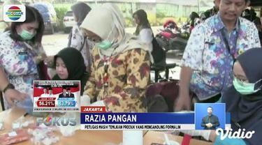 Razia bahan pangan di Pasar Kramat Jati Jakarta Timur, petugas temukan makanan mengandung boraks dan zat berbahaya lainnya.
