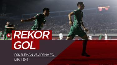 Berita video tercipta gol tercepat dan perdana di Shopee Liga 1 2019 saat PSS Sleman mengalahkan Arema FC 3-1 di Stadion Maguwoharjo, Sleman, Rabu (15/5/2019).