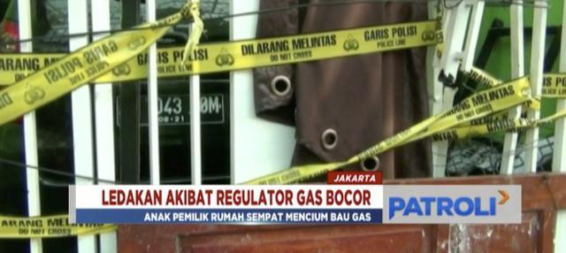 Tabung gas 12 kilogram meledak di dalam rumah di Cengkareng, Jakarta Barat. Ledakan diduga akibat kebocoran regulator.