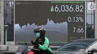 Pengendara sepeda motor melintas dekat layar pergerakan Indeks Harga Saham Gabungan (IHSG) di Jakarta, Kamis (10/10/2019). IHSG ditutup melemah 0,09 persen atau 5,52 poin ke level 6.023,64 dari penutupan perdagangan sebelumnya. (Liputan6.com/Angga Yuniar)