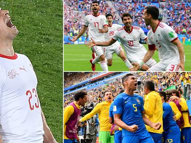 Patang menyerah sepertinya menjadi tren dari Piala Dunia 2018, hal ini terbukti dari banyaknya gol yang tercipta pada masa injury time. Berikut sejumlah momen gol injury time yang terjadi pada Piala Dunia 2018. (Kolase foto-foto dari AFP)