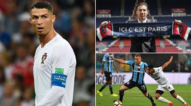 Kabar transfer pada Selasa (10/7/2018), diwarnai penawaran Juventus untuk Cristiano Ronaldo dan perkenalan Gianluigi Buffon oleh PSG. Berikut kabar transfer selengkapnya. (Kolase foto-foto dari AFP)