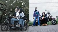 Pasangan seleb romantis boncengan naik motor. (Instagram/@tantrisyalindri/@melki.bajaj)