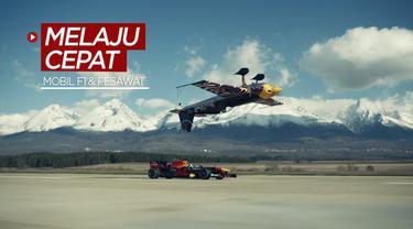Berita video momen David Coulthard dengan mobil Formula 1 melaju dengan cepat bersama sebuah pesawat terbalik di atasnya.