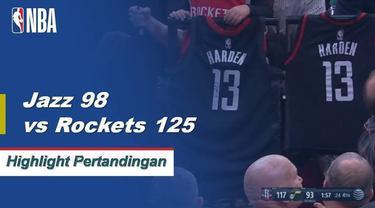 James Harden melanjutkan 30 poin beruntunnya, berakhir dengan 43 poin, 12 rebound dan enam steal ketika Rockets menurunkan Jazz di jalan.