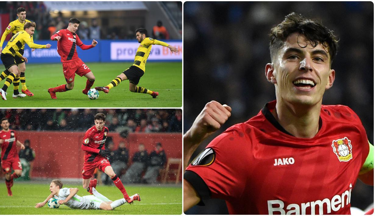 Gelandang serang Bayer Leverkusen, Kai Havertz, menjadi incaran beberapa klub besar Eropa berkat performa apiknya bersama skuat Die Werkself di kompetisi Bundesliga 2019-2020. Berikut pesona Kai Havertz saat berlaga untuk Leverkusen. (kolase foto AFP)