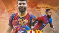 Barcelona - Sergio Aguero, Antoine Griezmann, Memphis Depay (Bola.com/Adreanus Titus)