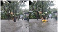 Hujan yang mengguyur Jakarta menyebabkan Kelurahan Rawa Terate, Cakung, Jakarta Timur banjir. (Twitter BPBD DKI)
