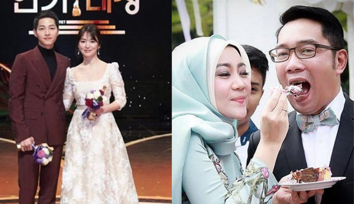 Pasangan selebriti Korea Song Joong Kid an Song Hye Kyo telah mengumumkan kepada publik mengenai hari pernikahanmereka. Tak sedikit para penggemarnya yang merasa senang dengan pemberitaan ini, termasuk Ridwan Kamil. (Instagram/Kyo1122/ridwankamil)