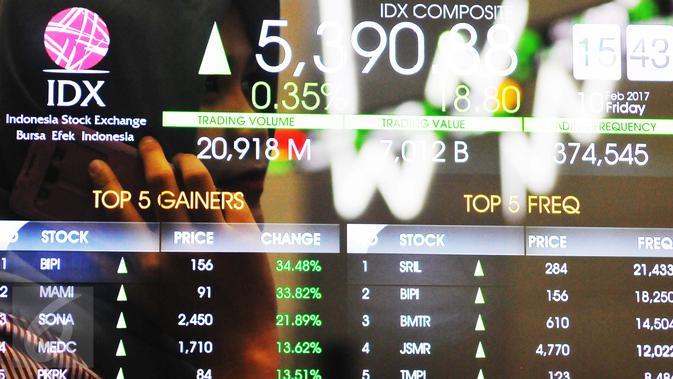Indeks sempat meraih level tertinggi di 5.399,99 dan terendah di 5.371,67 sepanjang perdagangan hari ini, Jakarta, Jumat (10/2). (Liputan6.com/Angga Yuniar)#source%3Dgooglier%2Ecom#https%3A%2F%2Fgooglier%2Ecom%2Fpage%2F%2F10000