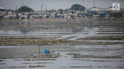 Suasana waduk Pluit yang mengalami pendangkalan di wilayah Penjaringan, Jakarta Utara, Sabtu (8/6/2019). Endapan lumpur cukup tebal yang diperparah dengan sampah menutupi permukaan air waduk tersebut mengantarkan aroma tidak sedap. (Liputan6.com/Faizal Fanani)