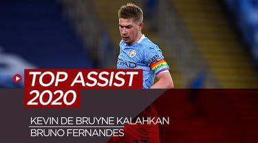 Berita motion grafis 10 top assist tahun 2020, Kevin De Bruyne kalahkan Bruno Fernandes.