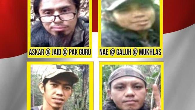 Wajah 4 terduga teroris Poso pimpinan Ali Kalora. (Merdeka.com)