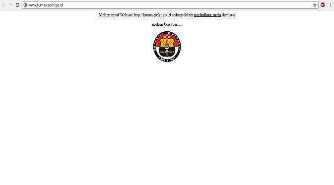 Tampilan website Divisi Humas Polri setelah isu peretasan oleh kelompok hacker Army Anons (Foto: Ist)