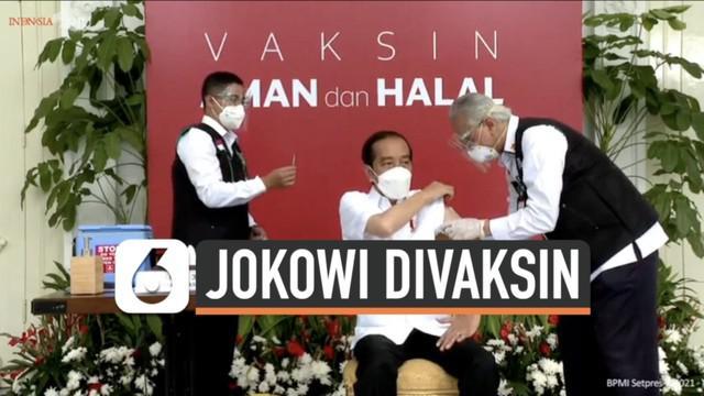 Presiden Joko Widodo disuntik vaksin Covid-19 Sinovac Rabu (13/1) pagi. Ia menjadi orang pertama di Indonesia yang terima vaksin Covid-19 setelah penggunaan vaksin tersebut dapat persetujuan BPOM RI.
