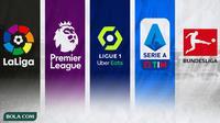 Ilustrasi - Logo La Liga, Premier League, Lique 1, Serie A, Bundesliga (Bola.com/Adreanus Titus)