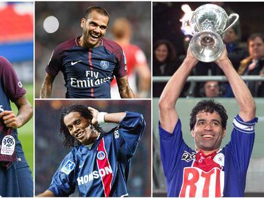 Berikut ini Neymar Jr dan enam pemain bintang asal Brasil yang pernah merumput di Paris Saint-Germain. Diantaranya Ronaldinho, Rai dan Dani Alves. (Foto-foto Kolase AFP).