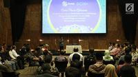 Suasana saat Direktur SCM Imam Sudjarwo memberikan sambutan dalam acara buka puasa bersama di SCTV Tower, Jakarta (22/5). (Liputan6.com/Herman Zakharia)