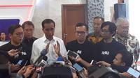 Presiden Joko Widodo (Jokowi) menghadiri Perayaan HUT Bukalapak ke-9 di JCC, Senayan, Jakarta, (Kamis (10/1/2019). (Ilyas/Liputan6.com)