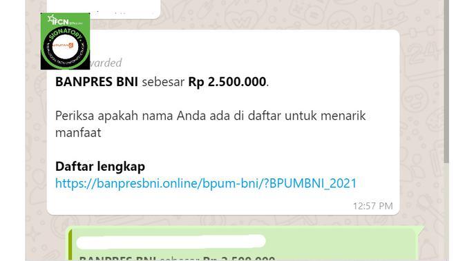 Cek Fakta Liputan6.com menelusuri informasi daftar penerima Banpres BNI sebesar Rp 2,5 juta