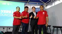 David Setiawan Suwarto, Deputy Director Programming SCTV (kedua dari kanan) saat konferensi pers U-20 International Cup 2019. (foto: Liputan6.com/Cakrayuri)