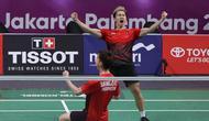Pasangan Indonesia Kevin Sanjaya Sukamuljo / Marcus Fernaldi Gideon lolos ke perempat final badminton nomor ganda putra peorangan Asian Games 2018. (Humas PP PBSI)