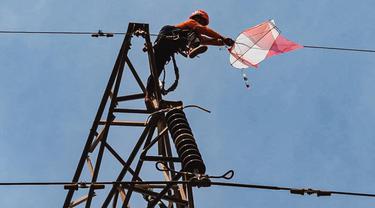 Petugas PLN membersihkan layangan yangtersangkut di kabel listrik. (Dian Kurniawan/Liputan6.com)