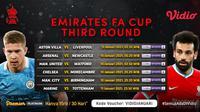 Jadwal Live Streaming FA CUP 2020-2021 Putaran Ke-3 di Vidio. (Sumber : dok. vidio.com)