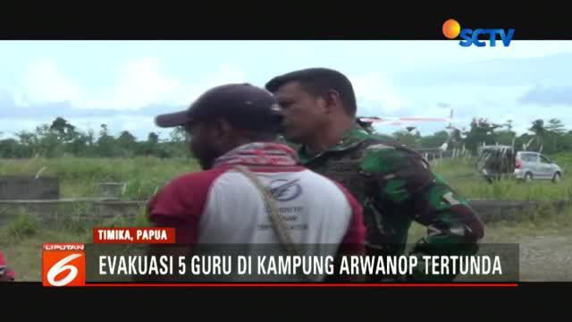 Upaya evakuasi lima orang guru korban kekerasan kelompok kriminal bersenjata (KKB) di Kampung Arwanop, Distrik Tembagapura, Timika, Papua, telah dlakukan sejak pagi hari.