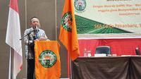CEO PTPN V Jatmiko K Santosa memberi sambutan usai terpilih pimpin Gapki Riau. (Liputan6.com/M Syukur)